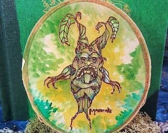 Birch Mandrake Plaque Laser-cut Harry Potter Hand-painted
