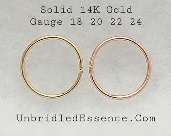 Solid 14kt Rose Gold Nose Ring Septum Daith Earring Belly Button Ring 16 18 20 22 24 Gauge Rook Helix Cartilage Conch Piercing Nipple Ring