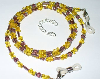 Variable chain of glasses or necklace in brown and yellow 74 cm (140)