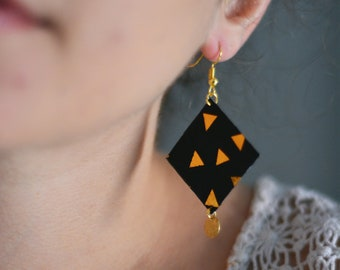 fabric jewelry, geometric gold patterns, diamond earrings dramatic geometric jewelry, fabric, Bohemian