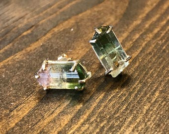 Watermelon Tourmaline Raw Crystal Earrings in 14k Yellow Gold