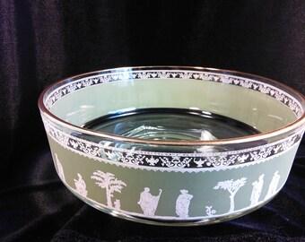 Vintage Jeannette Glass Green Hellenic Grecian Jasperware Large Serving Bowl Vintage Barware Retro Glassware Mad Men Decor 3DsVintage