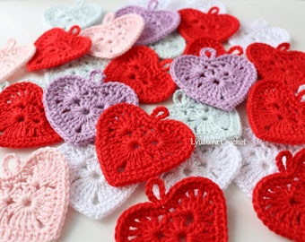 Small Crochet Heart PATTERN, Mini Crochet Heart Applique Pattern, Valentine's Day DIY Crochet Hearts, Instant Download, PDF Pattern #177