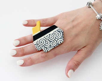 Statement Ceramic Ring -  Big ring, Bold ring, Geometric ring, Art Deco jewelry, Cocktail Ring, Handmade ring by Studioleanne - 2.2 inch