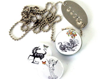 Unicorn Locket -  Dragon Jewelry, Garden Fairy, MAGIC Recycled Necklace with 3 Interchangeable Lids, Recycled Steel by Polarity