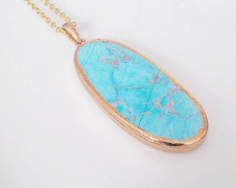 """Turquoise Marble Pendant 30"""" Gold Necklace"""