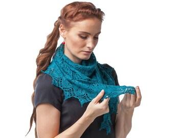 knit shawl, lace shawl, hand knitted shawl, shawl wrap, green shawl. Ready to ship