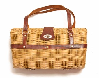 1950s Tan Wicker and Leather Handle Purse