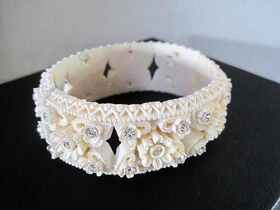 Celluloid Clamper, White Roses and Rhinestones, Vintage White Hinged Bangle