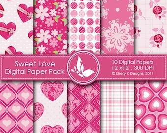 Sweet Love Paper Pack - 10 Printable Digital papers - 12 x12 - 300 DPI