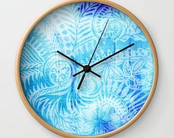 New Zealand mandala wall clock, koru fern drawing clock face, nature lovers decorative art