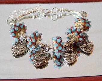 Tan, Red and Blue Dotted Euro Charm Bracelet