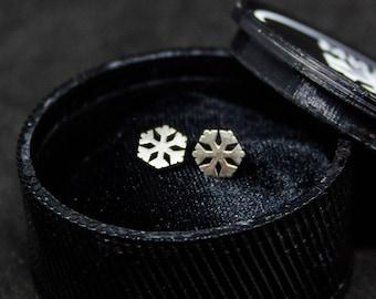 Winter Snowflake Sterling Silver Earrings, Sterling Silver Jewelry Gift For Women