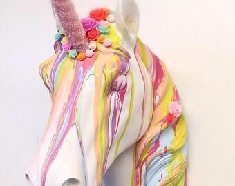 Unicorn head wall mount art ~ rainbow metallic hand painted interior decor statement ~ animal faux taxidermy ~ birthday gift