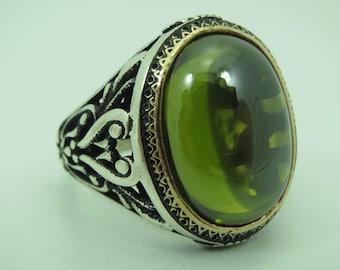 925 Sterling Silver Peridot Stone Men Ring