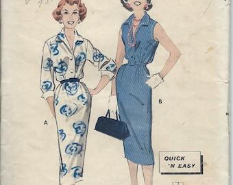 1958 VINTAGE BUTTERICK PATTERN Misses Shirt dress. 8501 Size 12. Bust 32.