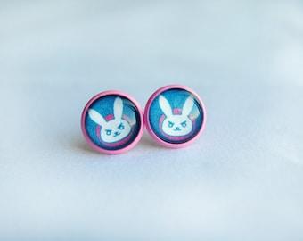 D.va Earrings -- Overwatch Inspired Earrings -- Gamer Girl -- Nerd Jewelry -- Gamer Jewelry -- Geek Chic -- Handmade