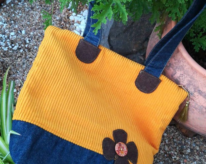 Bag in fabric, bag, bags, handbags, Burel, Handmade, denim bag, return to classes, Portuguese crafts, Tote bag Jeans, Women's bag