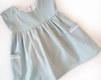 RTS | The Grace Dress | Dusty Blue | 9-12M & 12-18M | Spring/Summer Dress