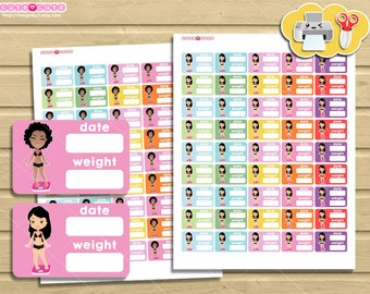 "Girls Weight tracker Half boxes, Printable  stickers for 1,5"" boxes, Gym stickers, Fitness stickers, Planner and organize."