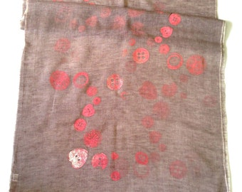 Buttons pattern scarf/ Cotton/ Linen/ Organic Shawl/ Taupe/ Pink