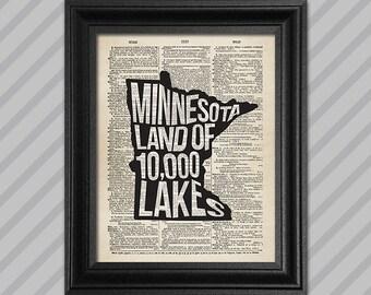 Minnesota Dictionary Art - Land of 10,000 Lakes