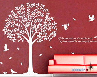 tree birds 60inch----Removable Graphic Art wall decals stickers home decor