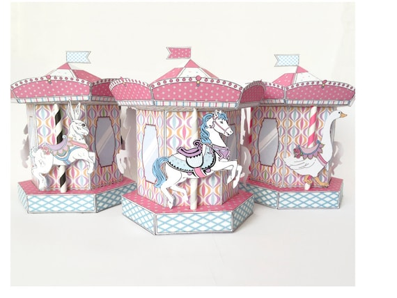 Carousel Merry Go Round Box Cupcake Box Gift Box Party