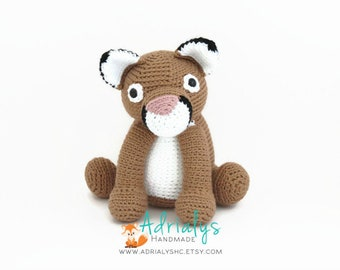 Crochet Cougar- Stuffed Cougar- Cougar Plush- Woodland Animals- Big Cats- Handmade Cougar- Crochet Toy- Made to Order