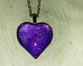 Heart Pendant - Heart Necklace - Purple Heart Necklace