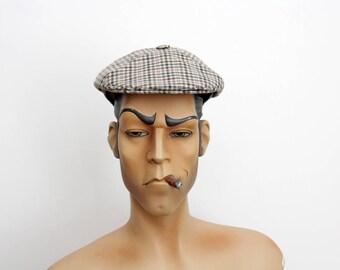 Vintage mens flat cap //  newsboy mens hat