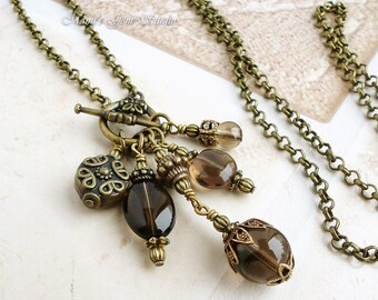 Smoky Quartz Antiqued Brass Long Necklace 28 inches, Gemstone Handmade Jewelry, Cluster Drop Necklace
