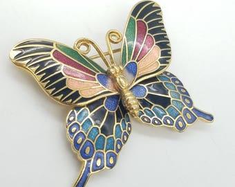 Vintage Multi-Color & Gold-Tone Cloisonne Butterfly Brooch