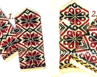White Red Black Mittens Hand Knitted Wool Mittens White Red Black Gloves Hand Knitted Wool Gloves Winter Gloves Patterned Latvian Mittens
