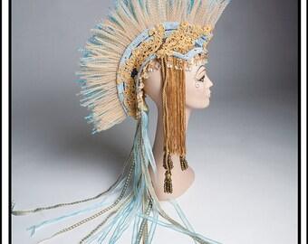 SALE 15 % OFF SALE Morning Light.. Mohawk Headdress In Gold N Blue Headdress