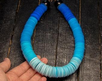 Blue Statement necklace Monochrome Chunky necklace beaded necklace turquoise necklace choker aqua beads polymer clay handmade jewellery