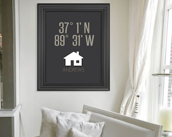 Wedding Gift Art Print Anniversary Gift Custom Housewarming Gift Latitude Longitude New Home Art Print Gift Personalized Valentines Day Gift