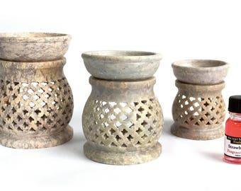 Soapstone Oil Burner Lattice Design Fragrance Home Fragrance Aromatherapy Bowl