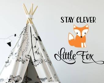 Stay Clever Little Fox Decal, Fox Decal, Nursery Fox Decal, Fox Decor, Fox Sticker