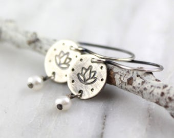 Lotus Stamped Silver and Pearl Dangle Earrings