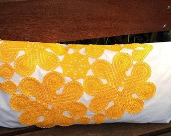 Yellow crochet pillow