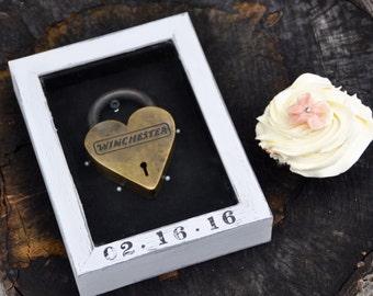 Wedding shadow box wedding gift anniversary gift personalized gift frame custom personalized handmade wedding keepsake engagement gift lock