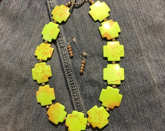 Cactus Green Cross necklace set