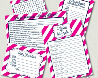 Hot pink and Navy Baby Shower Games, girl Baby Shower, Word Search, Wishes for Baby, Printable Games, Pink stripes, printable pdf games