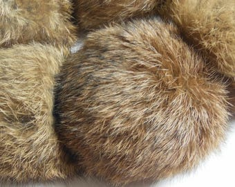 9cm Natural Brown Real Rabbit Fur Pom poms Balls