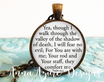 Yea though I walk through the valley of death Christian Jewelry Christian necklace bible necklace Psalm 23:4 Keychain sterling silver
