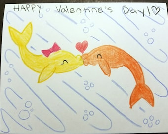 Valentine's Day - Kissing Fish -Hand Drawn Greeting Card, with envelope. Drawn by 4 sisters, ages 6-11.