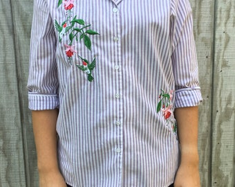 Vintage Embroidered Hummingbird Striped Button Up Blouse