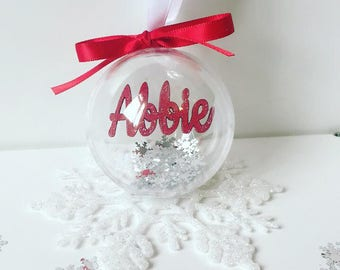 Floating name baubles, christmas baubles, festive.