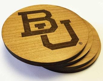 BU Baylor Coasters | Laser Engraved Wood